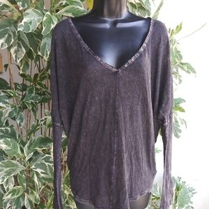 New Free People Faded Noir Oversized Top Sz S